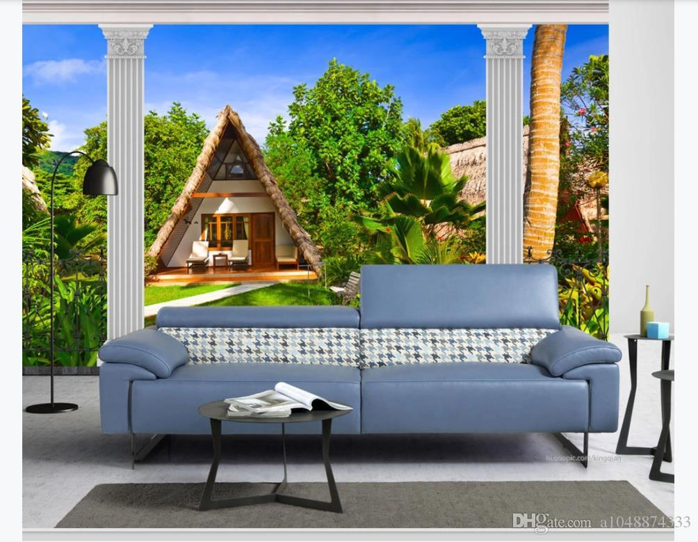 Custom photo wallpaper for walls 3 d murals European Pillar garden landscape window seascape wall paper home decor