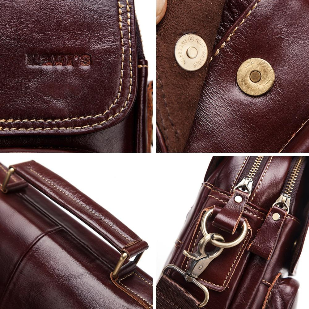 "KAVIS Fashion 2018 NEW Genuine Leather Men Shoulder Bag High Quality Crossbody Bags For Male Messenger Bag 9.7"" Ipad Bolsas"
