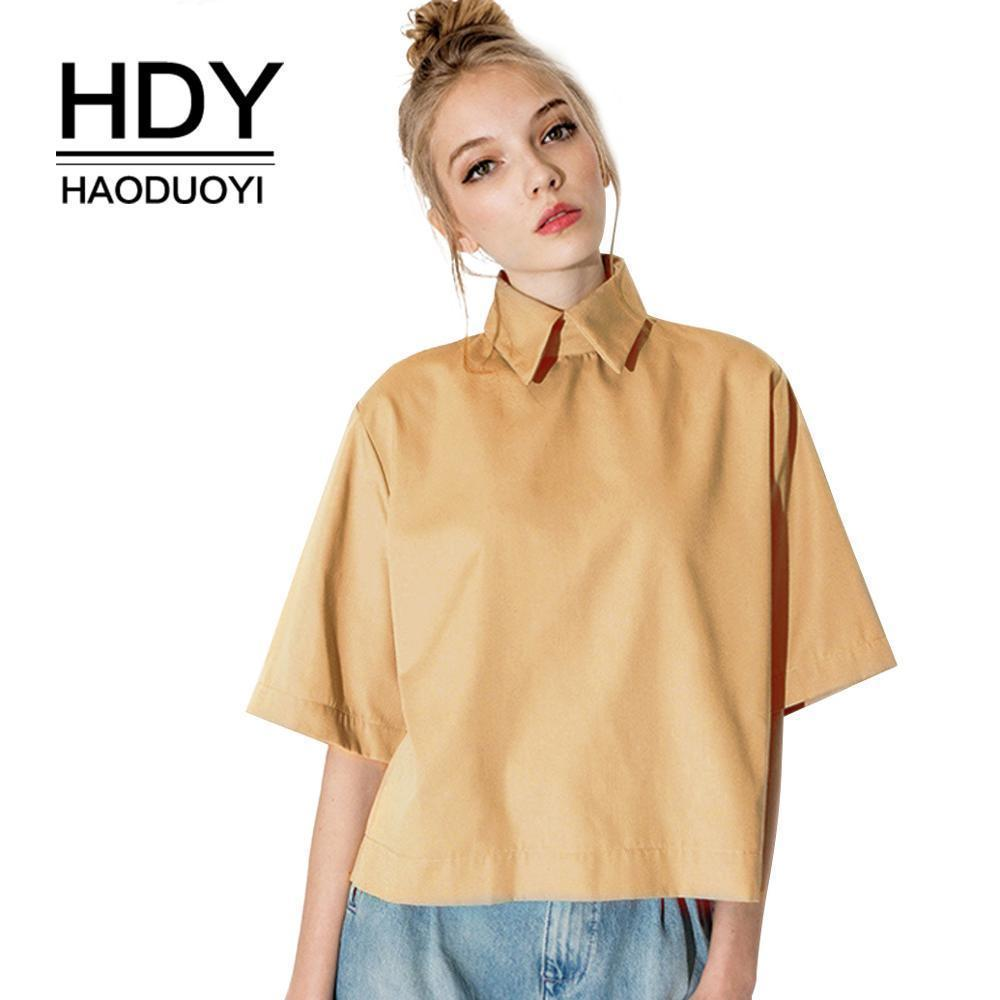 802c51be72ca0 Wholesale Hdy Haoduoyi Retro Preppy Style Fashion Tops Turn Down Collar  Blouse Slim Women Shirt For And Free Shipping Y19043001