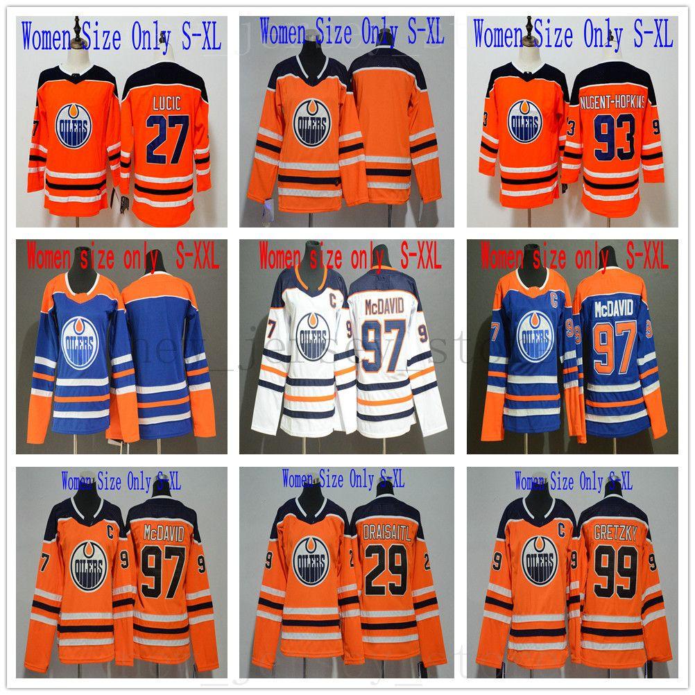 online store b5fcc f1df2 Women Kids Hockey Edmonton Oilers 27 Milan Lucic Jersey Orange Blue White  97 Connor McDavid Leon Draisaitl Wayne Gretzky Ryan Nugent-Hopkins