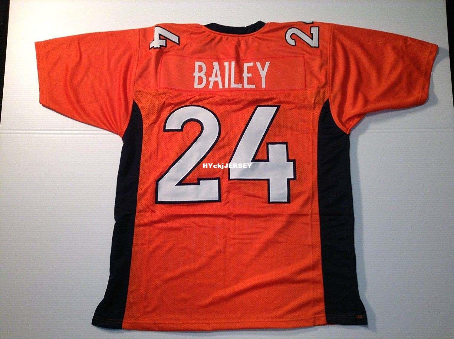 Cheap Retro custom Sewn Stitched #24 Champ Bailey Orange MITCHELL & NESS Jersey High-end Men's Football Jerseys College NCAA