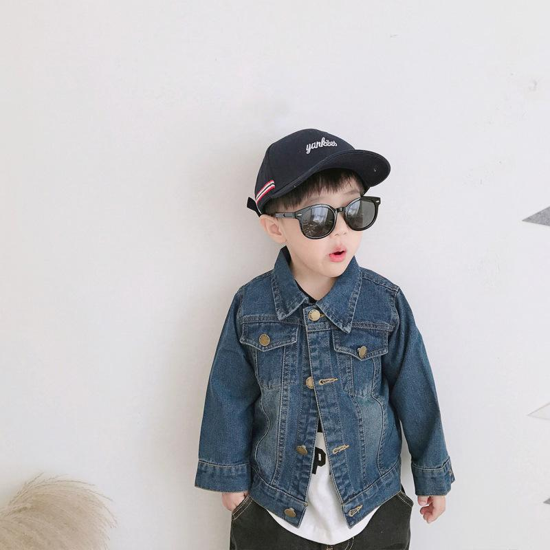 f2c0ce9dff4 Baby Boy Denim Jacket 2018 Spring Autumn Boy Coat Soft Denim Coat Lapel  Cartoon Dark Blue Jacket For Kids Children Clothing Boys Waterproof Jackets  Kids ...