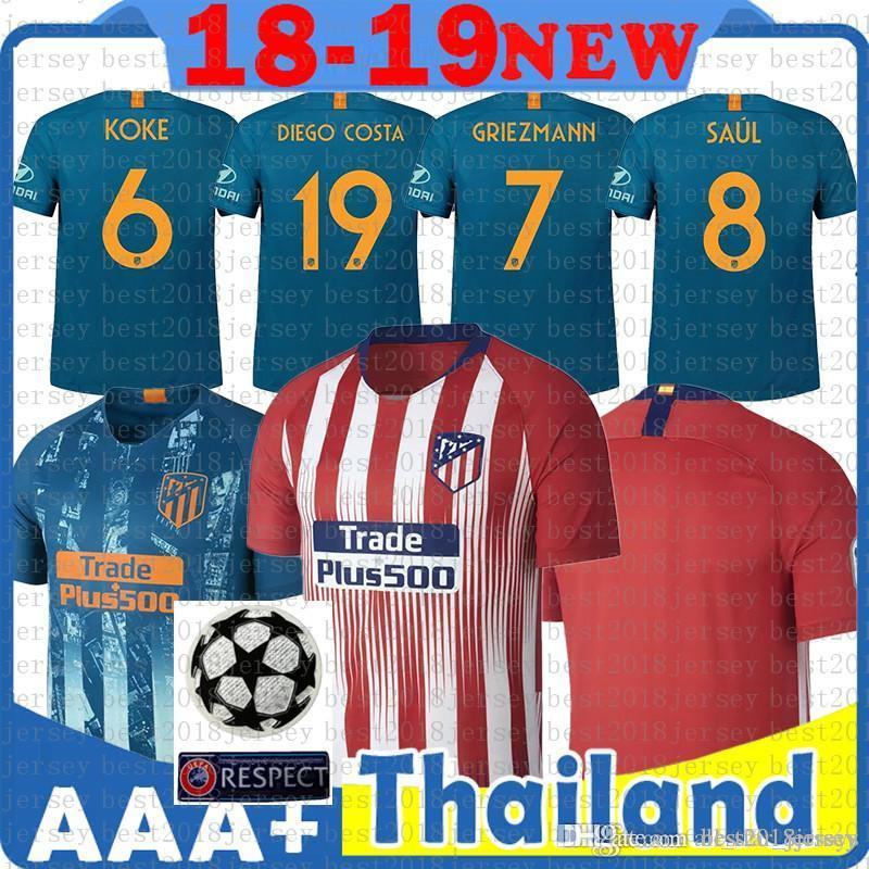d94a4c6a64f 2019 Cheap Custom 19 Madrid Atletico Soccer Jersey GRIEZMANN Correa Lucas  Costa Koke Saul Godin Luis Gimenez Kids Kits Women Men Football Shirt From  ...