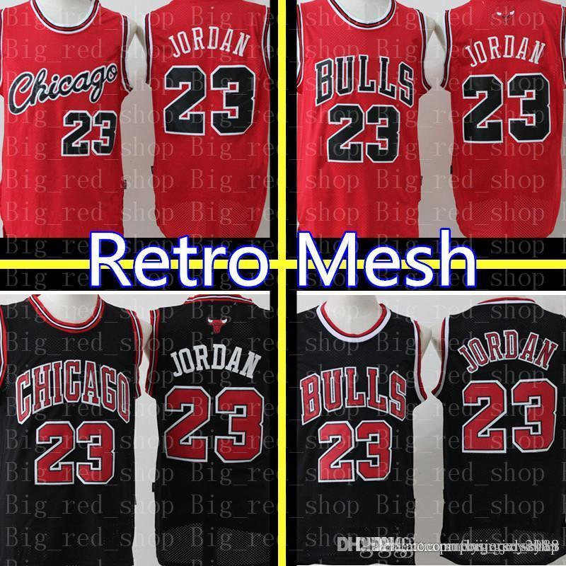low priced afb79 0868a 23 Michael Chicago Bull Jersey Retro Mesh Black Red White Green Embroidery  Basketball Jerseys Cheap wholesale