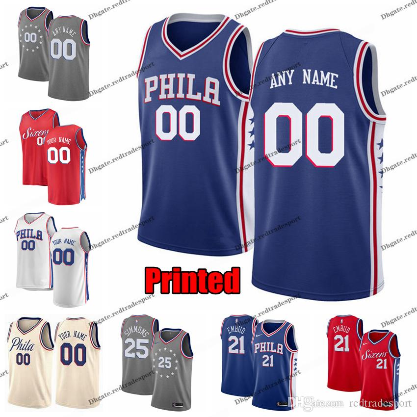 newest 09048 dee9d 2019 Printed Philadelphia Blue 76ers Joel Embiid J.J. Redick Jimmy Butler  Tobias Harris Ben Simmons City Johnson Edition Basketball Jersey
