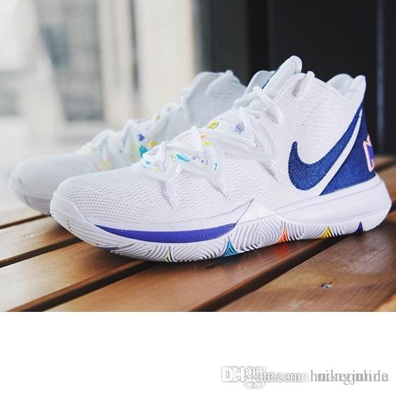pretty nice 2578c 0226e Cheap men kyrie 5 basketball shoes White Blue Black Gold Green Wolf Grey  Yellow kids kyries irving sports sneakers tennis with box size 7 12
