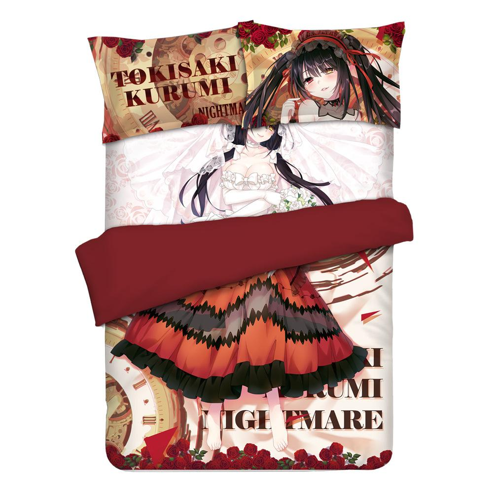 Anime Date A Live Nightmare Tokisaki Kurumi Otaku Bedding Linen Bedding Set  Bed Sheet or Duvet Cover with Two Pillow cases