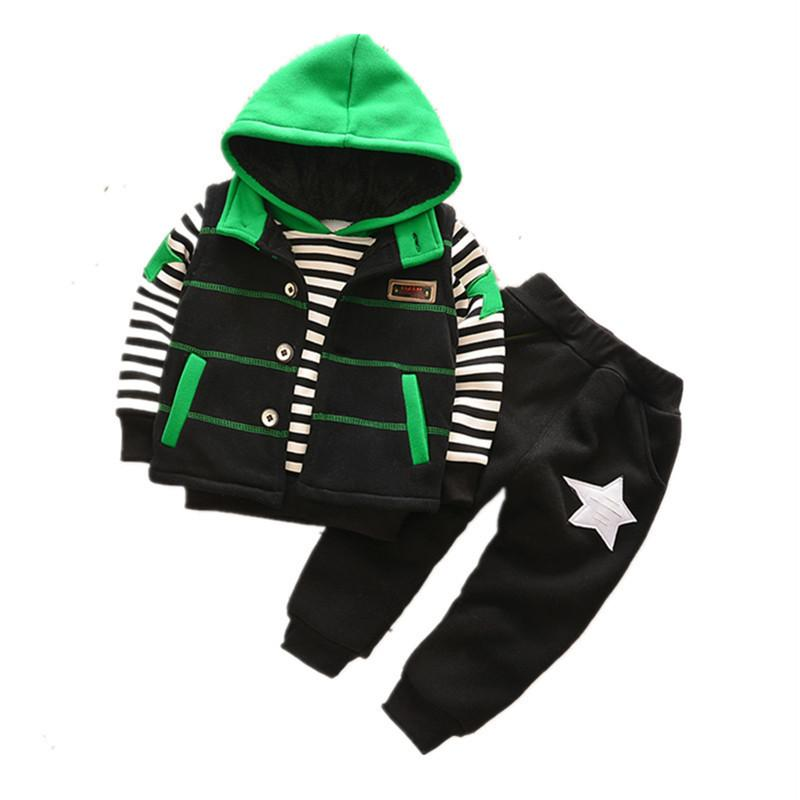 quality Little Boys Warm Clothing Sets Baby Boys Winter Plus Velvet Sport Suit Children Boys Striped Fashion Tracksuit Costume
