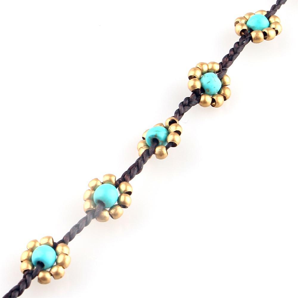 Vintage Jolie Main Pierre Alliage Fleur Corde Chaîne Bell Charme Bracelets pour Femmes Mode Un Bracelet En Gros