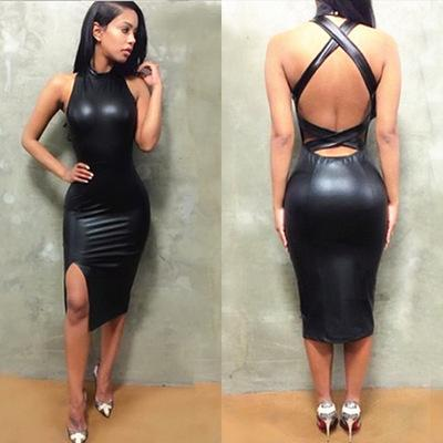 500989d704 2019 Women Sexy Dresses 2019 Summer New Designer Dress Leather Skirt Tight  Halter Luxury Mini Skirt Nightclub Style Cross Strapless Open Back From  Uukef, ...