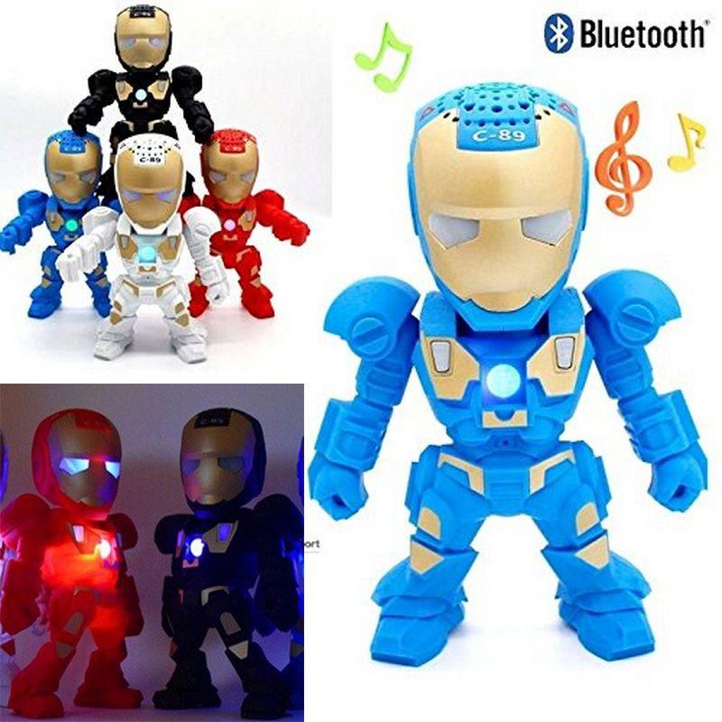 New Iron Man Bluetooth Speaker Stereo LED Speaker Subwoofer Wireless  Speakers TF Card USB Port Mini Portable Speakers