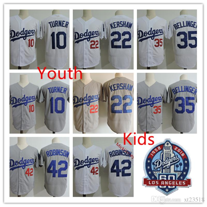 official photos b44bb 76437 Youth #10 Justin Turner 60TH PATCH Jersey Stitched Kids #35 Cody Bellinger  2018 WS Jerseys S-3XL