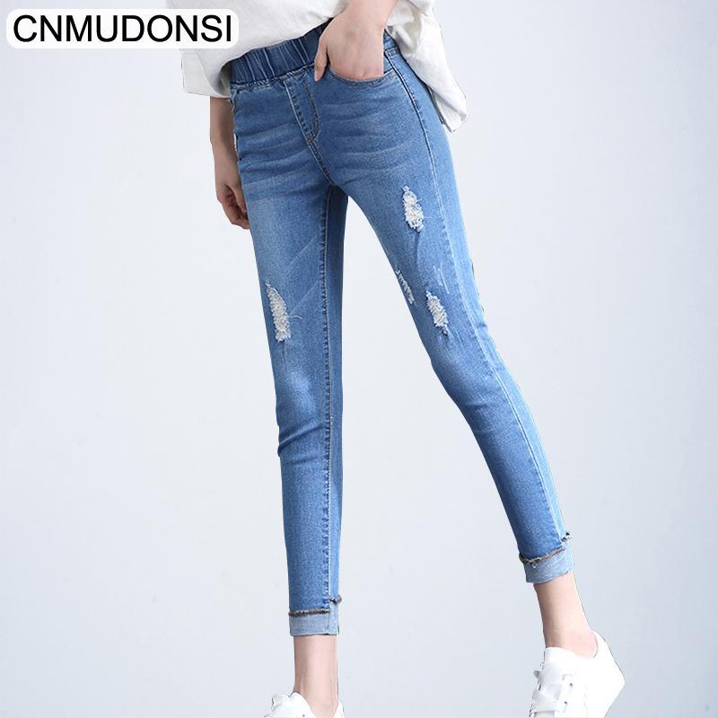 c8417cfd4a19eb CNMUDONSI Slim Denim Blue Pantalons Pour Femmes 2019 Printemps Printemps  Skinny Stretch Jeans Leggings Vintage Jean Déchiré Crayon Pantalon Femelle