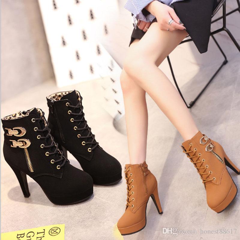 Compre Zapatos De Mujer De Estilo Europeo Y Americano Botas Altas 2018 Más El Tamaño De Primavera Otoño Zapatos De Mujer Botas Altas Botas De