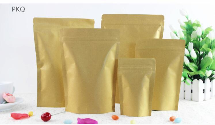 100pcs,kraft paper stand up bag Zip Lock Food Snack Tea Bag Coffee Seeds Sweets Ziplock Seal Kraft Paper Bag