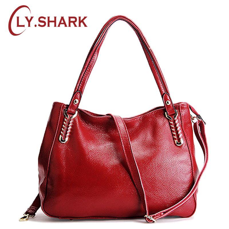 39ee8149a4f LY.SHARK Women Fashion Genuine Leather Bag Female Shoulder Bag New Designer  Handbags High Quality Women Bags Messenger