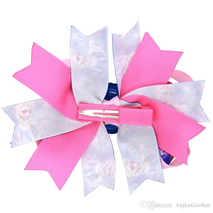 4.5 inchs 10 estilos Anna dibujos animados cinta de impresión acanalada knotbows horquilla horquillas niños accesorios para el cabello creativas