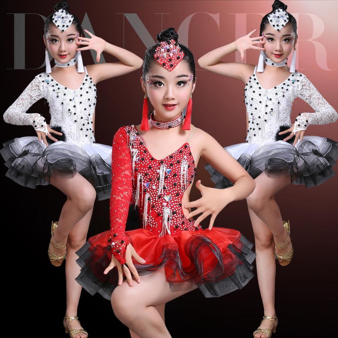 8343e4a4d 2019 Latin Flamenco Ballroom Dance Competition Dresses For Girls Sequin Salsa  Rumba Tango Samba Cha Cha Dress Kids Children Costumes From Goodly3128, ...