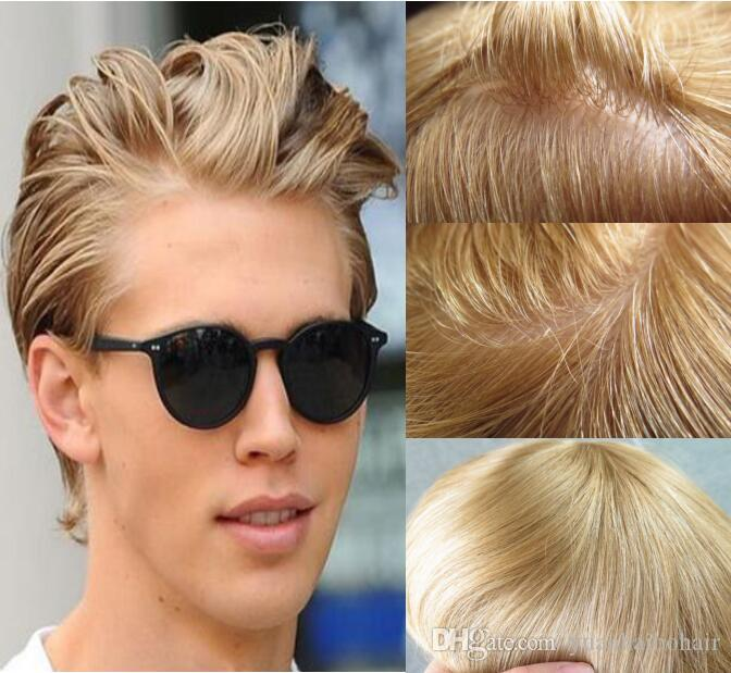 613# Blonde Color Mens Toupee Full Thin Skin Toupee Human Hair Replacement  for Men Virgin European Human Hair Pieces Free Shipping!