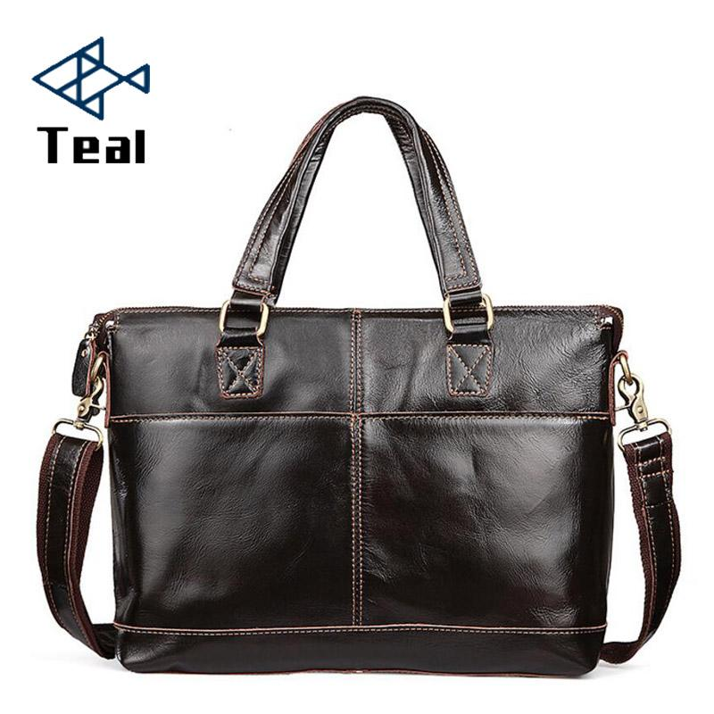 Men's Briefcase Genuine Leather Business Vintage High Quality leather Briefcase Brand Design bag Sac a main