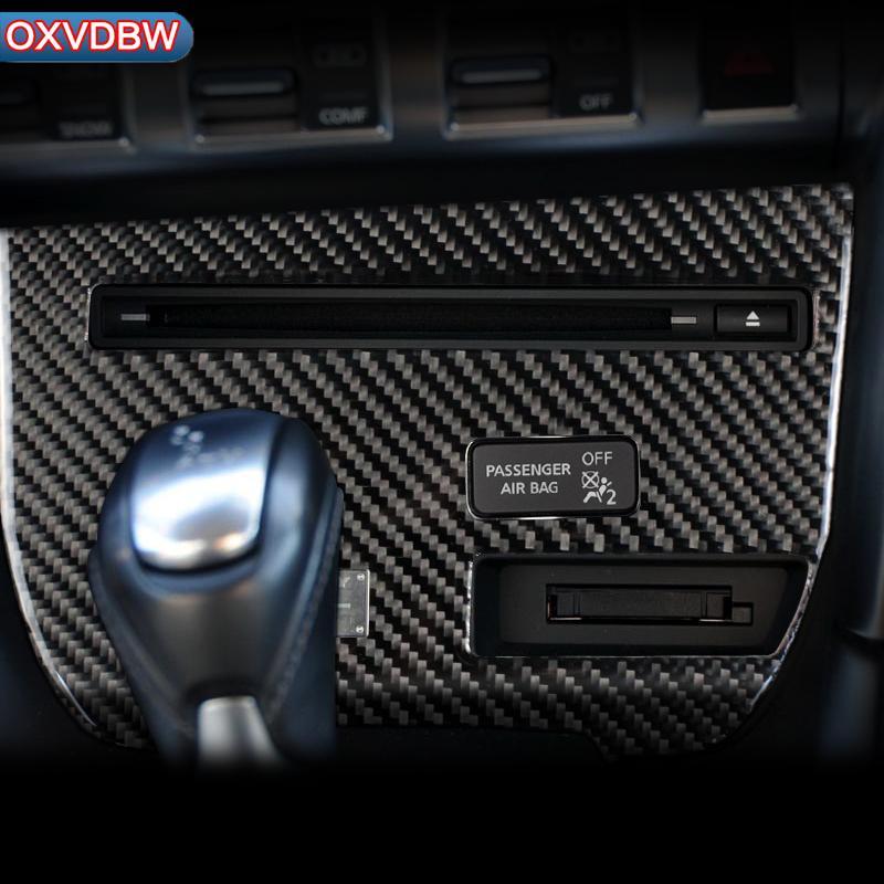 For nissan GTR R35 LHD RHD Accessories Carbon Fiber Strip CD Panel  Decorative Cover Trim Auto Interior Car Styling 3D Sticker