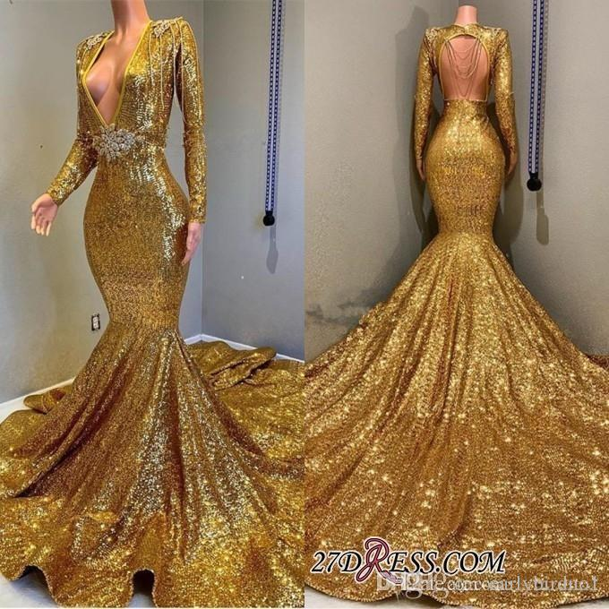 2019 Sexy Deep V Neck Gold Mermaid Prom Dresses Long Sleeve Open Back Sequined Formal Evening Gowns Sparkly Sequin Celebrity Party Dresses