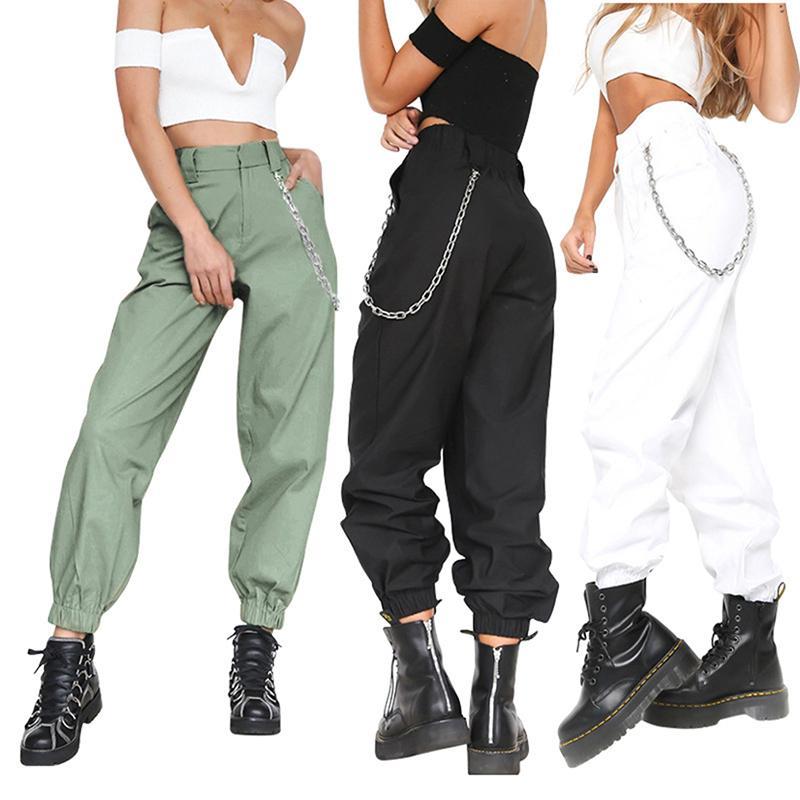 Compre 2019 Verano Mujer Pantalones Harem De Cintura Alta Moda De Mujer  Color Sólido Sólido Pantalones Largos Hip Hop Pantalón Streetwear Con  Cadenas A ... ded3ed4f569b