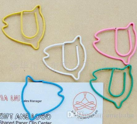 cute colorful fish shaped paperclip, student stationery gift iron animal paperclip,Free shipping mix color factory