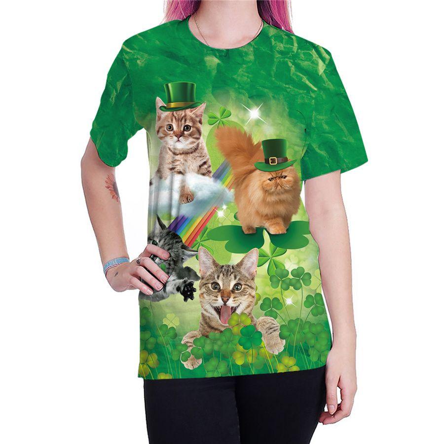 be1f91e31fa5 2019 Women Casual 3D Print Shirts Short Sleeve Animal Print Tops Green  Leprechaun Hat Outerwear Shamrocks St. Patrick Day Blouses From  Hilllin1989