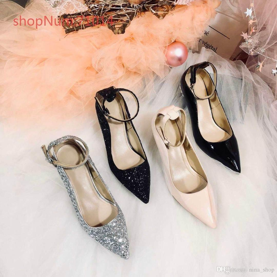 b807a80d9fb Top Grade Fashion Sexy Dress Shoes Low Heels Cinderella Crystal Shoes Bridal  Sequins Wedding Shoes Genuine Leather Sequins Size 35 To 40 Walking Shoes  Flat ...