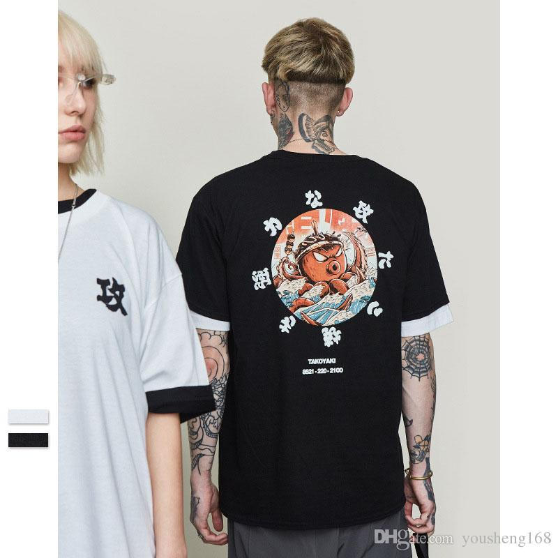 e3b7f7f2 2019 spring and summer new tide brand Japanese fun octopus cartoon printing  men's casual short-sleeved T-shirt compassion youth