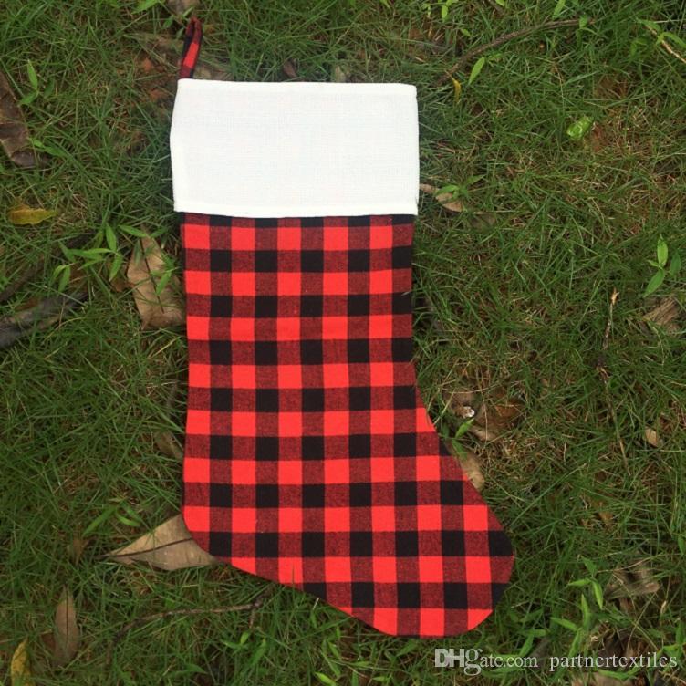 Stocking Christmas.Plaid Personalized Stockings Cotton Buffalo Flannel Stockings Christmas Decor Poly Sublimation Blanks Santa Stockings Gift Embroidery Blanks
