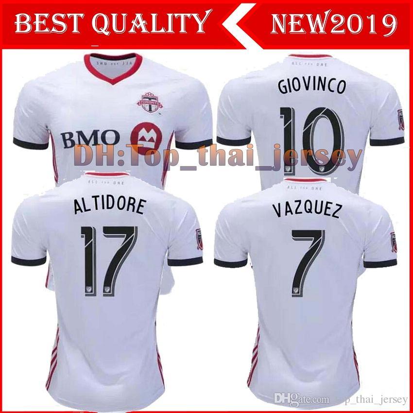 on sale a595f e14d3 2019 2020 Toronto FC Away Soccer Jersey 18/19 #10 GIOVINCO #4 BRADLEY #17  ALTIDORE White Soccer Shirt Customized MLS Football Uniform Sales