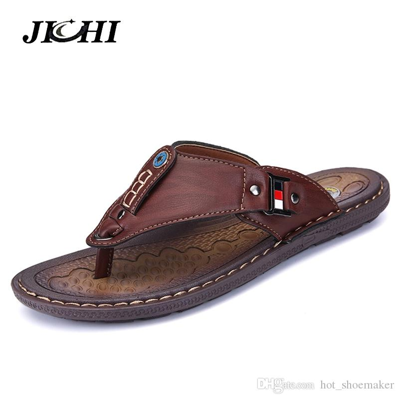 4fe6ad29a 2019 Summer Beach Men Flip Flops Pu Leather Slippers Male Flats Sandals  Outdoor Rubber Thong Beach Shoes Men Leather Brand New  8047 Reef Sandals  Gold Shoes ...