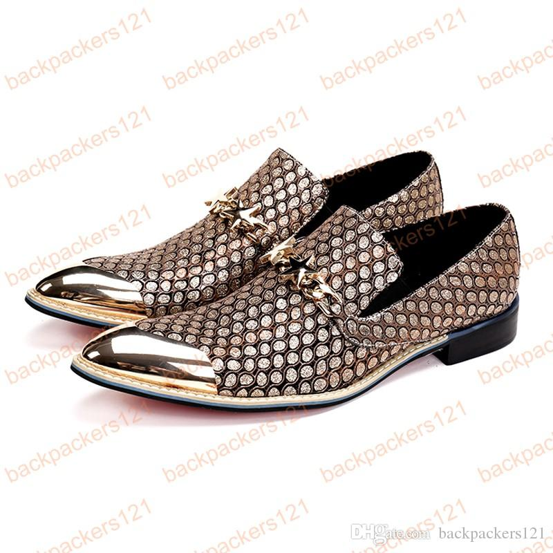 New Gold Pointed Toe Slip on Man Loafers Luxury Genuine Leather Height Increasing Wedding Party Men's Runway Shoes