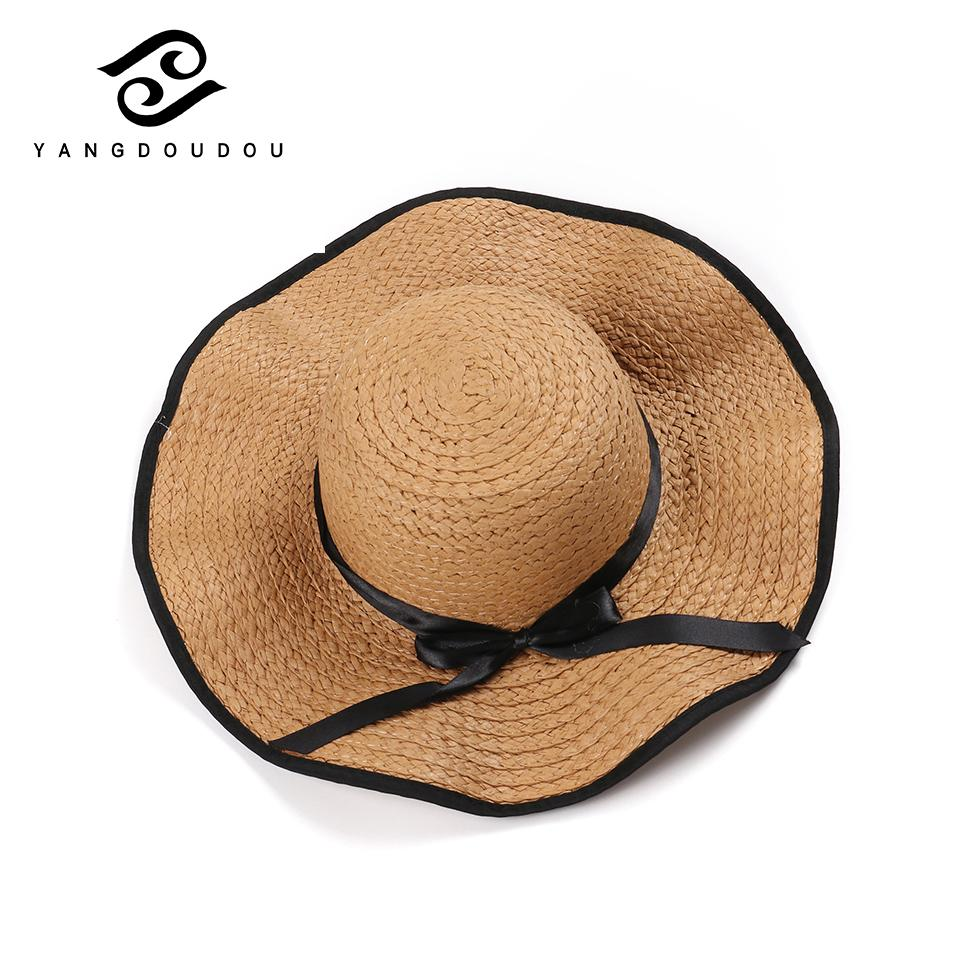 e575a0a5bfb Yangdoudou Fashion Straw Hat Summer Casual Bow Raffia Hat for Women ...