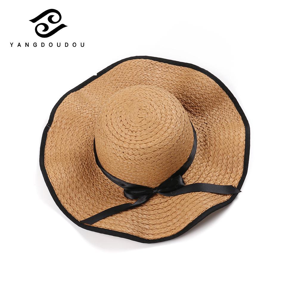 Yangdoudou Fashion Straw Hat Summer Casual Bow Raffia Hat for Women ... 4251bbd286ae