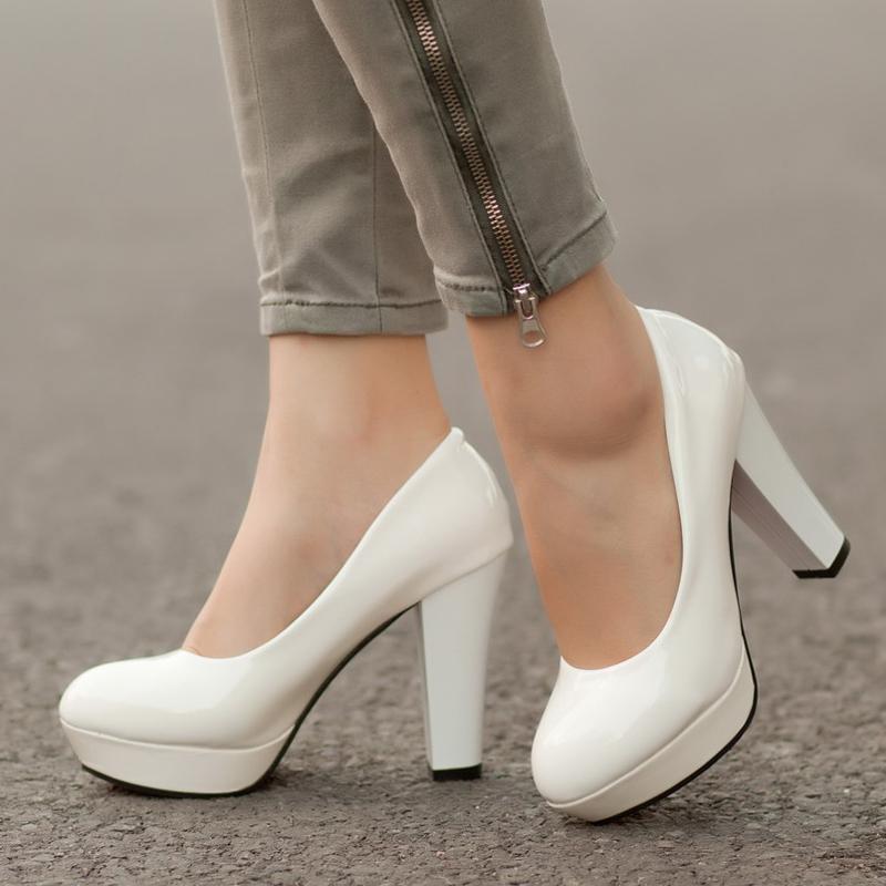 sale retailer 5a8a1 3dc87 Große Größe 34-42 11 10 Damen Plateau Pumps Schuhe für Frau High Heels  Weiße Hochzeit Schuhe zapatos mujer Frühling rote Bootsschuhe