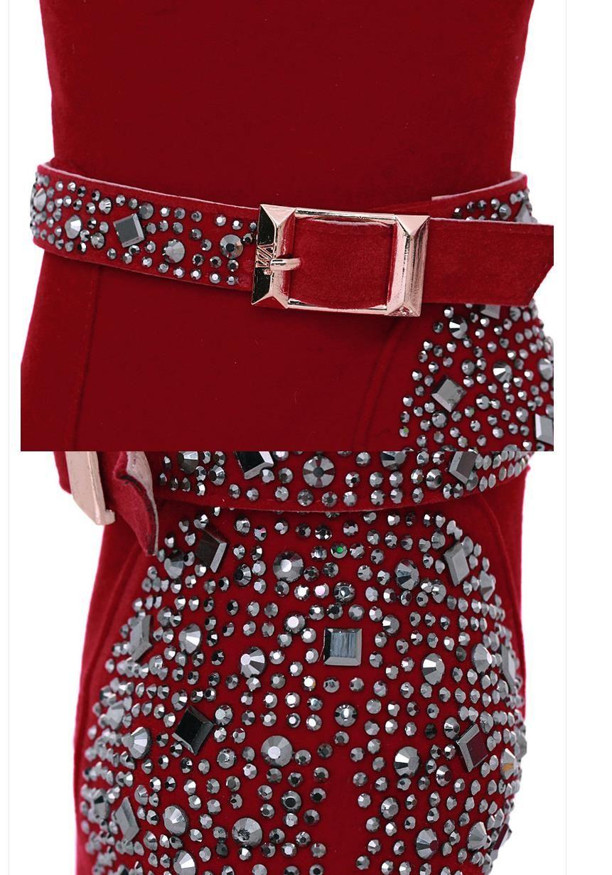 kutu kırmızı düğün ayakkabı bot ile 41'e boyutu 33 çivili perçinler yüksek topuklu kadın ayak bileği patik tasarımcı pompaları yapay elmas