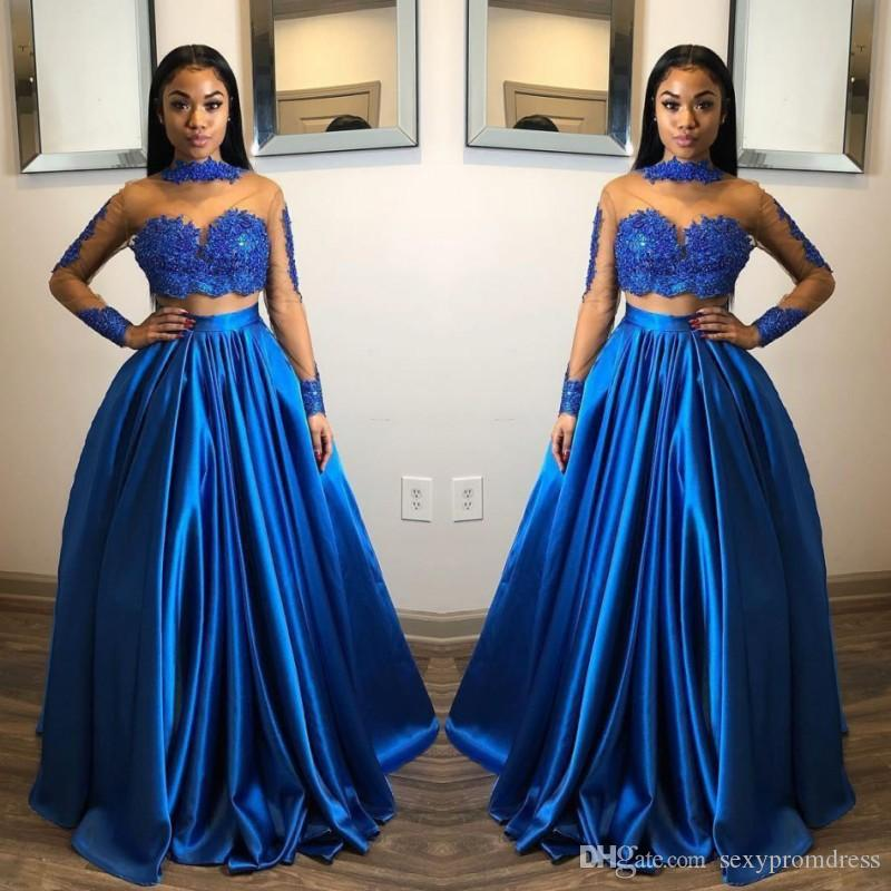 da38a38e925b Royal Blue Two Pieces Prom Dresses Lace Appliques Sheer High Neck Long  Sleeves Evening Gowns Floor Length Zipper Back Cheap Party Dress Prom  Dresses Short ...
