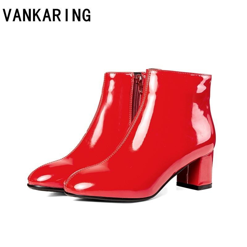 082cd08c243d9 Shoes Woman Plus Size Qulaity Pu Leather Ankle Boots New Fashion Black Red  Square Heels Zipper Women Dress Party Riding Boots Mens Dress Boots Green  Boots ...