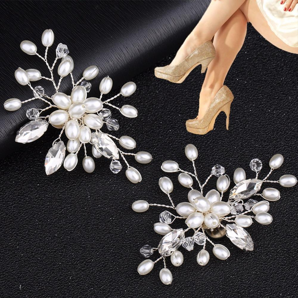 EYKOSI 2Pcs Elegant Rhinestone Pearl Shoes Clips Flower Dress Hat Wedding Party