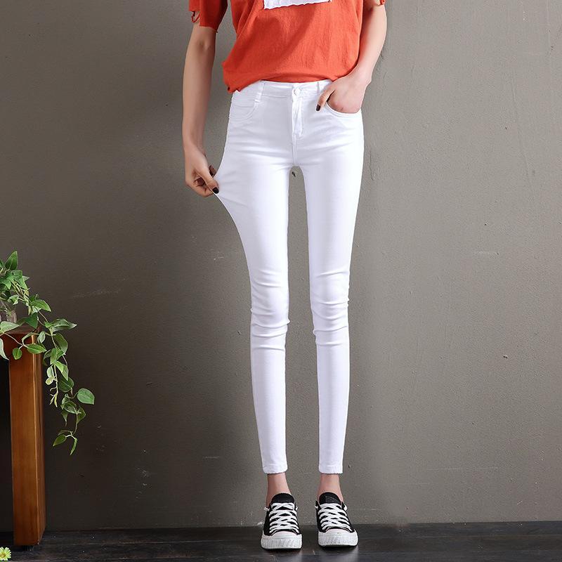 93f07c1a14a 2019 Summer Plus Size White Jeans Woman High Waist Denim Pencil ...