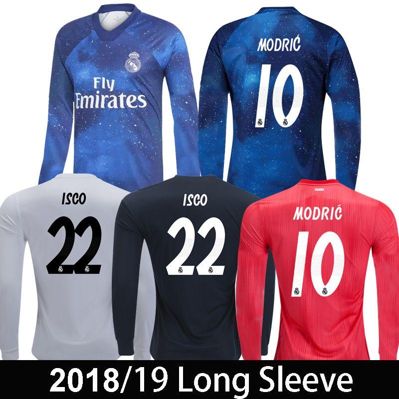 5a2b3a26 Real Madrid EA Sports Camisetas De Fútbol De Manga Larga MARIANO ISCO  MODRIC 2018 19 Camiseta De Fútbol De Manga Larga ASENSIO Away Rojo De  Calidad Superior ...