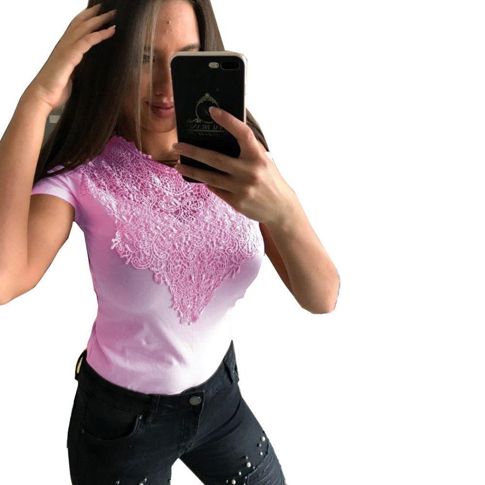 Модные топы Женские летние повседневные О-образным вырезом топ футболка с коротким рукавом с плеча Сексуальная выдалбливают Женская одежда кружева лоскутная футболка