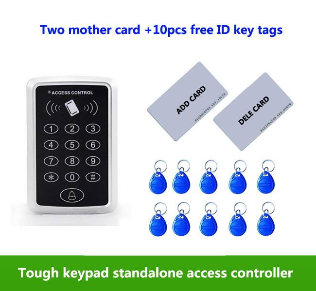 proximity RFID 125Khz ID card Standalone +Touch keypad Single door access controller ,2pcs mother card, 10pcs ID tags,min:1pcs