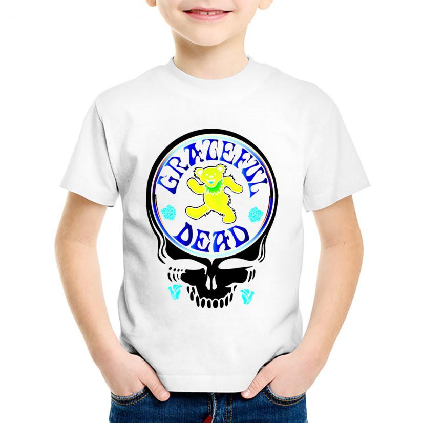Grateful Dead Skull Printed Children T-shirts Kids Summer Album Country Folk Rock Band Tees Boys/Girls Bear Tops Clothes,HKP457