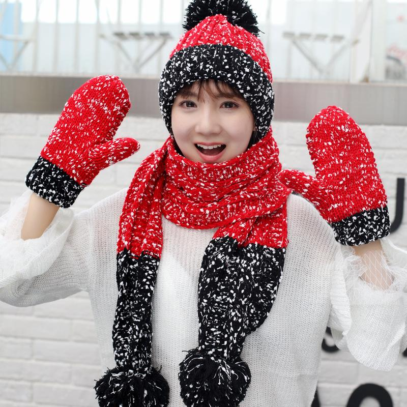 3 Pcs/Set Thicken Gloves Scarf Hat Women Winter Warm Knitting Beanie Ball Hats Outdoor Travel Cap Mittens 7 Colors Girl Christmas Gift M339F