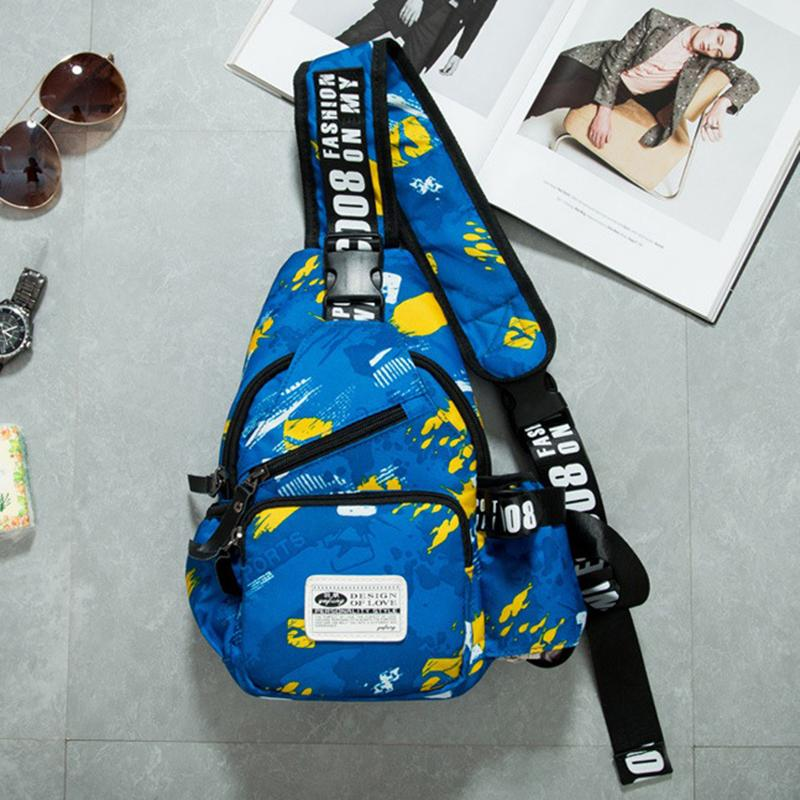 ac764a83b5 Waist Bag for Men Canvas Printed Chest Bag Fashion Single Shoulder ...