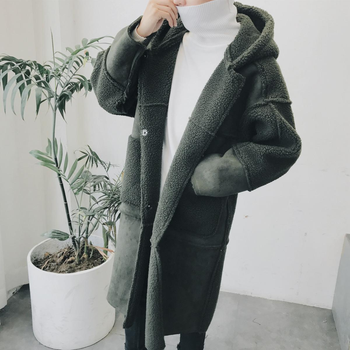 4a0ba1542e0 2019 Winter New Chic Smiple Male Wool Blend Deerskin Lamb Mao Lovers Clothes  Loose High Quality Warm Pure Color Long Coats S 2xl From Lilidar